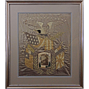 Silkwork Embroidered Picture Americana Eagle Flags Cruise of the Great White Fleet - circa 190