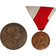 Two Antique Austro-Hungarian Empire Franz Josef Medals - 1898 and 1914, Austria