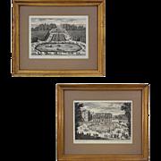 Pair Antique French Architectural / Topographic Engravings Les Cascades de Sceaux and Le chât