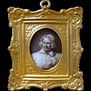 Grisaille Miniature Portrait on Porcelain Gilt Frame Artist White Smock