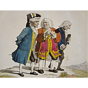 French Satyrical Etching P. A. Wille / Martinet Les Anciens Amis de college a la Promenade ...