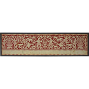 Italian Renaissance Embroidery Panel Valance Border Red Silk Thread on Linen  - circa 17th Cen