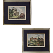 Pair Early English Castles Color Engravings after T. Hearne, Matted - c. 1807, England