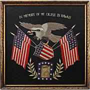Silk Work Embroidered Trapunto Banner Eagle Flags Cruise of the Great White Fleet Hawaii Visit
