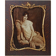 Madame Recamier Large Sepia Portrait in French Rosewood Picture Frame Large - 19th Century, Fr