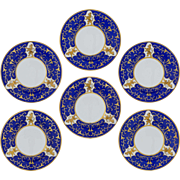 SOLD Set 6 Carlsbad Lions Cobalt Gilt Cabinet Plates Friedrich Simon - 1920's or later, Czecho