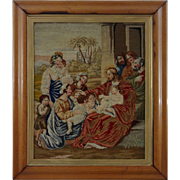 Antique Wool Work Picture in Maple Frame Christ Blessing Little Children - 19th Century, ...