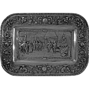 Repousse Wall Plaque Conquistadors in Hapsburg Court Silver Plated Copper - c. 19th Century, P