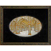 Antique Mughal Miniature Painting Red Fort Old Delhi Audience Hall Grand Tour - 19th Century,