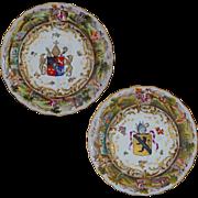 Pair Armorial Porcelain Plates Raised Classical Figure Border Crowned N Mark Majolica