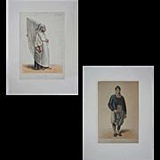 Pair Antique Juive d'Algier Lithographs Costume Couple - 1842-1848, France