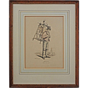 Gagne Petit / Working Poor / Knife and Scissor Grinder Lithograph after Carle Vernet Framed -