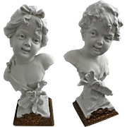 Pair White Bisque / Parian Busts Putti Cupid and Psyche after Rudolf Kaesbach