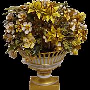 Large Jane Hutcheson Fleurs des Siecles Enamel Flower Arrangement in Reticulated White Gilt Po