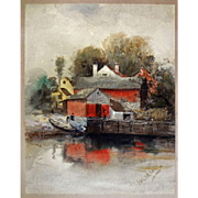 American Watercolor Boat House Signed Walkley - before 1934, USA