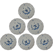 Set 6 French Country Provence Faience Moustiers Salad / Wall Plates Birds - 20th Century, Fran