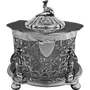 Antique English Lidded Biscuit Box Whippet Dog Finial Crystal and Silver Plate - 19th Century,