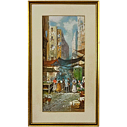 Neapolitan Market Street Scene Gouache Watercolor Painting Signed Y. Gianni - early 20th ...