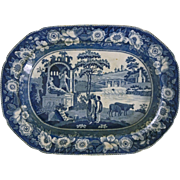 Early Minton Transferware Platter Blue and White Italian Ruins Floral Border - 1842, Stoke-on