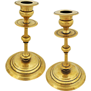 Pair Antique Classic Polish Brass Candlesticks Norblin & Co. - c.1860 - c.1870, Warsaw, Poland