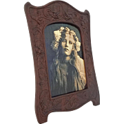Aesthetic Style Carved Walnut Easel Back Picture / Photo Frame - c. end 19th/early 20th Centur
