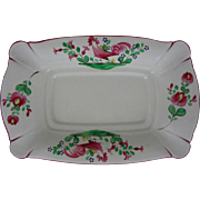French Faience Rooster Platter Pink Green on White Ground - 20th Century, France