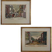Pair 18th Century Engravings Hand-Colored Philip Andreas Degmair after Matthias Siller Tab. 5
