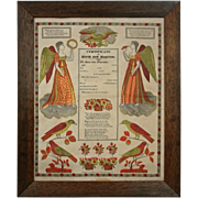 Early Framed German Folk Art Broadside Fraktur Certificate of Birth and Baptism G. S. Peters,