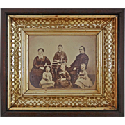 Antique Mahogany Framed Sepia Photograph Samuel and Annie Shuck Family - c. 1870, USA