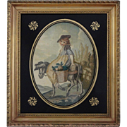 Antique Silk Needlework Embroidery Picture Country Girl in Tuscany Gilt Wood Frame Eglomise Ma