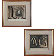 Pair Antique Aquatint / Etchings London Architecture Egyptian Hall and Cloisters - early 19th