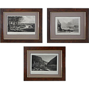 Set 3 Pennsylvania Views Steel Engravings Finely Framed - 19th Century, USA