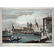 Antique Venice Engraving Dogana, and Church of Santa Maria Della Salute by J. H. Kernott after
