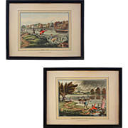 Pair English Fly Fishing Prints Thomas McLean Taking a Fly / Smiling Showers or Ducks in ...