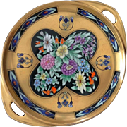 SOLD Vienna Secessionist Period Gilt Black Tray Pickard Porcelain Signed - c. 1912-18, Austria