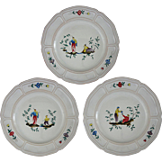 Chinoiserie Faience for Tiffany Plates Set of Three  - 20th Century, France