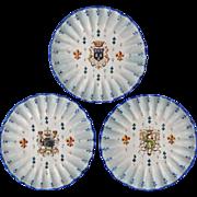 Set 3 Armorial Faience Plates Fleur de Lys Wavy Borders - c. 1900's, France