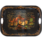 Tole Chinoiserie Handled Tray Painted Metal