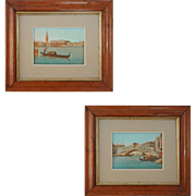 Pair Painted Miniature Views of Venice St. Marks Bell Tower, Ducal Palace and Rialto Bridge ..