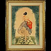 Basket of Apples / Le Panier de Pommes Print after Icart Framed - 20th Century, New York