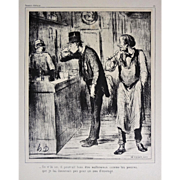Honore Daumier Lithograph AMI DE PERSONNE with Authentication Caricature Satirical - 20th ...