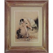 Art Deco Period Boudoir Drawing Signed William Ablett, Paris, Lady and Dog, Chalk / Charcoal -