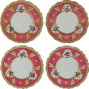 Set 4 For Tiffany & Co. New York Hot Pink English Cauldon Porcelain Plates Large - c.1930-1962