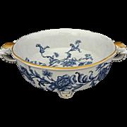 Antique Royal Worcester Elephant Handled Footed Bowl Blue White Floral English Registration ..