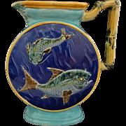 Antique English Majolica Joseph Holdcroft Bamboo Handle Fish Pitcher Blue Turquoise Marked - c