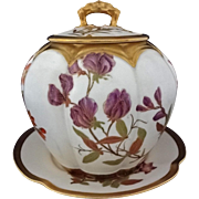 Royal Worcester Biscuit / Cookie Jar Complete Set with Lid and Underplate - c. 1888, England