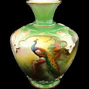 Miniature Royal Worcester Peacock on Fir Tree Vase Green Gilt - 1909, England