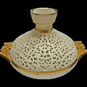 Worcester China Works Grainger Pierced / Reticulated Orientalist Gilt Handled Vase - 19th Cent