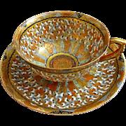 Kutani Thousand Faces Japanese Porcelain Cup Saucer Signed - Meiji, Japan