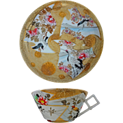 Japanese Gilt Porcelain Cup Saucer with Birds, Cranes and Landscape Signed - c. 20th Century,